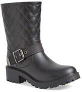 dav Women's Moto Quilted Rain Boot