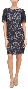 Jessica Howard Petite Puff-Sleeve Lace Sheath Dress