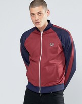 Fred Perry Bomber Jacket With Contrast Sleeves In Maroon