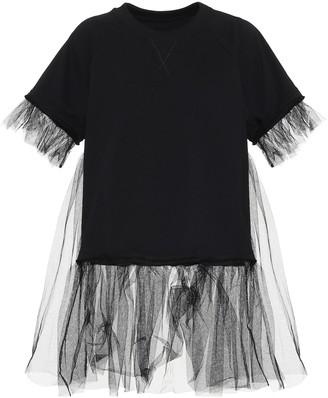 MM6 MAISON MARGIELA Tulle-trimmed cotton-blend T-shirt