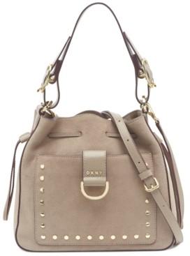 DKNY Wayne Leather Drawstring Bucket Bag