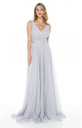 Ladyness Grey Maxi Bridesmaid Dress