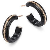 Roberto Demeglio 18K Rose Gold & Matte Black Ceramic Pura Champagne Diamond Hoop Earrings