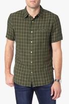 7 For All Mankind Short Sleeve Windowpane Linen Shirt