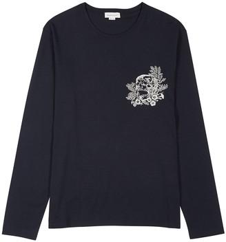 Alexander McQueen Navy Skull-embroidered Cotton Top