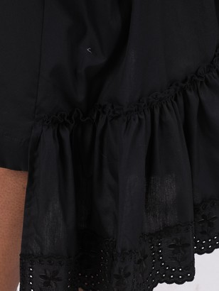 Simone Rocha Black Asymmetric Frill Ruffled Skirt
