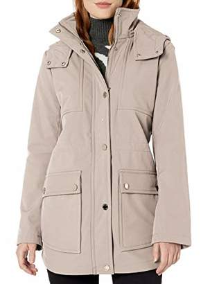 Kenneth Cole Women's High Low Hemmed Soft Shell Anorak with Hood