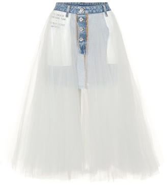 Unravel Denim and tulle skirt