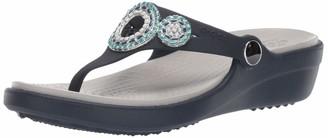 Crocs Women's Sanrah Diamante Wedge Flip Flop Sandal