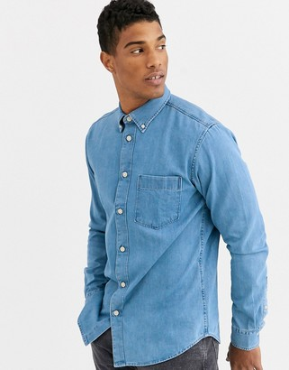 Selected one pocket denim shirt in light blue