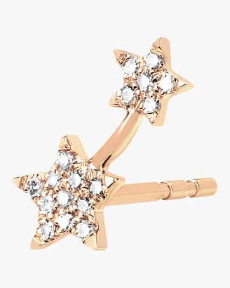 Ef Collection Single Diamond Double Star Stud Earring