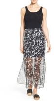 Vince Camuto Petite Women's Print Chiffon Overlay Maxi Dress