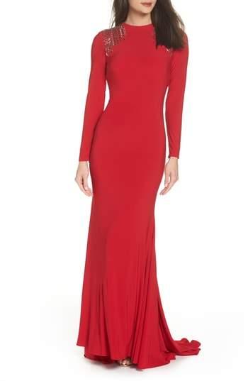Mac Duggal Embellished Shoulder Jersey Gown