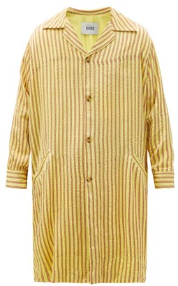 Bode Mashroo Striped Twill Overcoat - Yellow