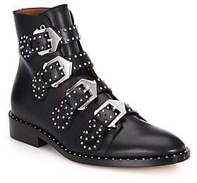 Givenchy Women's Elegant Studded Buckle Leather Ankle Boots