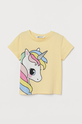 H&M Printed Jersey Top - Yellow