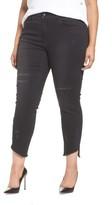 Seven7 Plus Size Women's Distressed Slant Raw Hem Skinny Jeans