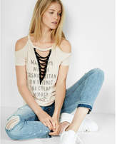 Express drink list cold shoulder lace-up tee