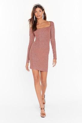 Nasty Gal Womens Onto a Shimmer Glitter Mini Dress - Cinnamon