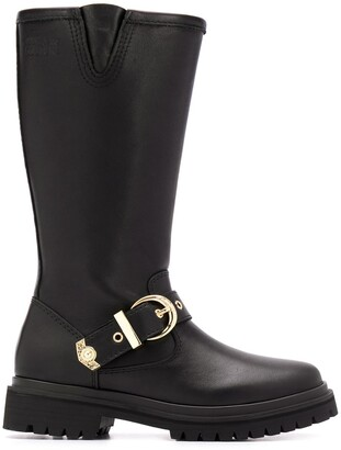 Versace Jeans Couture Mid-Calf Buckle Strap Boots
