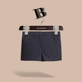 Burberry Button Detail Cotton and Linen Shorts