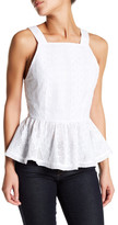 Endless Rose Ruby Sleeveless Embroidered Knit Blouse