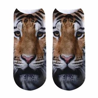 Kalorywee 2018 Sale Clearance Popular Funny Unisex Short Socks 3D Tiger Lion Printed Anklet Socks Casual Socks