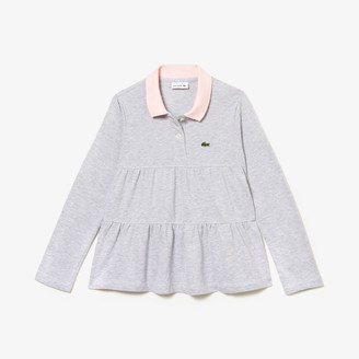 Lacoste Girls' Flounced Cotton Pique Polo Shirt