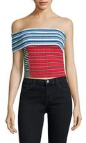 MSGM One-Shoulder Cropped Top
