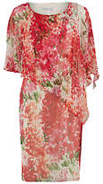 Gina Bacconi Watercolour Chiffon Dress With Cape, Multi