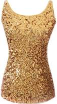 URqueen Women's Spaghetti Strap Sequins Clubwear Tank Top Purple