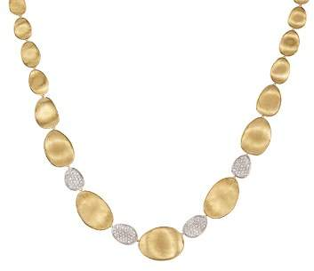 """Marco Bicego Diamond Lunaria Graduated Collar Necklace in 18K Gold, 17.25"""""""