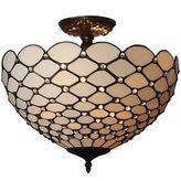 AMORA Amora Lighting AM086CL16 Tiffany-Style Jewel 2-Light Semi-Flush Ceiling Fixture 16-Inch