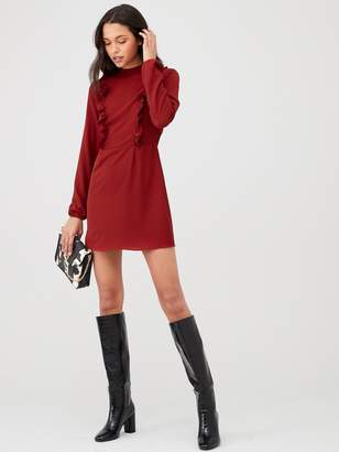 AX Paris High Neck Ruffle Dress - Red