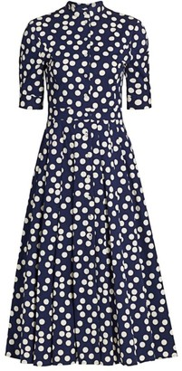 Carolina Herrera Polka Dot Belted Elbow-Sleeve Shirtdress