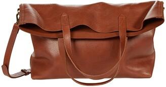 Madewell The Fold-Over Transport Tote (English Saddle) Handbags