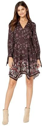 Rebecca Taylor Long Sleeve V-Neck Dress (Plum Combo) Women's Clothing