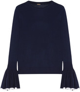 ADAM by Adam Lippes Ruffled Two-tone Merino Wool Sweater - Navy