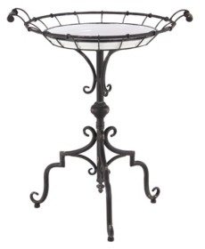 """Rosemary Lane Traditional 29"""" x 24"""" Round Iron and Wood Tray-Style Accent Table"""