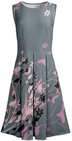 Lily Women's Casual Dresses GRY - Gray & Pink Floral Sleeveless Fit & Flare Dress - Women & Plus