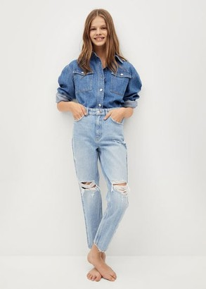 MANGO Straight-fit decorative rips jeans
