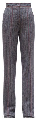 Gabriela Hearst Shipton Herringbone Wool-blend Trousers - Grey Multi