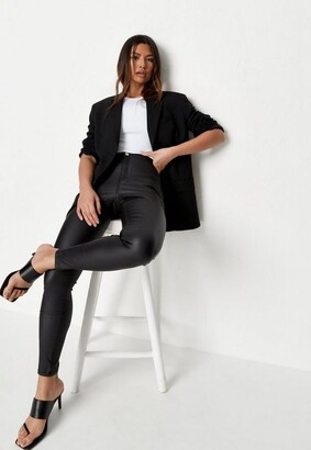 Missguided Black High Waisted Coated Skinny Jeans