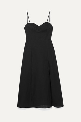 Reformation Nebraska Linen Midi Dress - Black