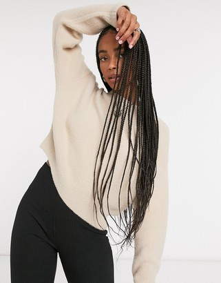 Bershka soft touch crew neck jumper in camel