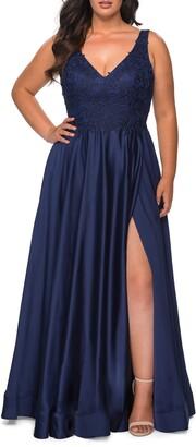 La Femme Beaded Satin Gown