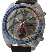 Seiko SpeedTimer Stainless Steel / Leather Vintage 41mm Mens Watch