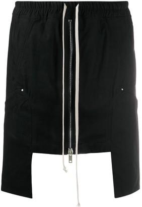 Rick Owens Asymmetric Drawstring-Waist Skirt