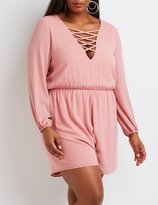 Charlotte Russe Plus Size Lattice-Front Romper