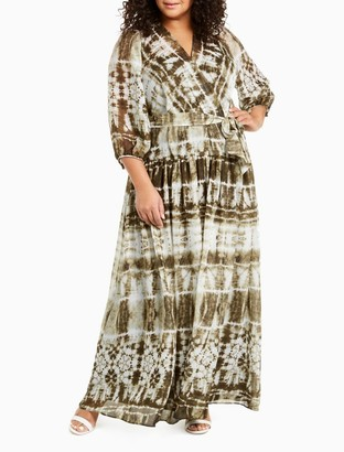 Calvin Klein Plus Size Tie-Dye V-Neck 3/4 Sleeve Belted Maxi Dress